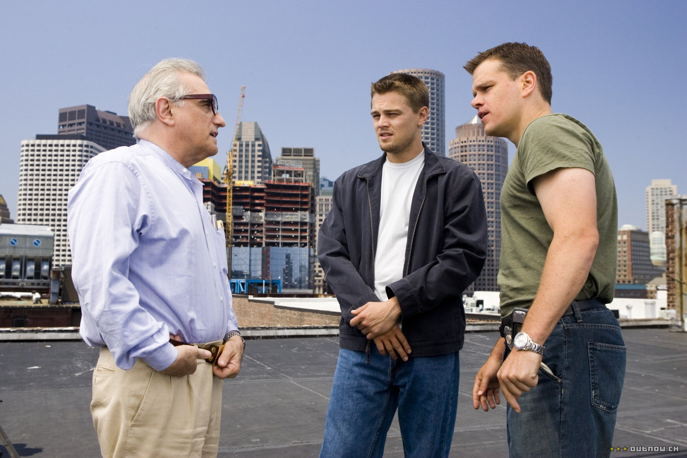 Scorsese mit Leonardo DiCaprio und Matt Damon am Set von «The Departed»