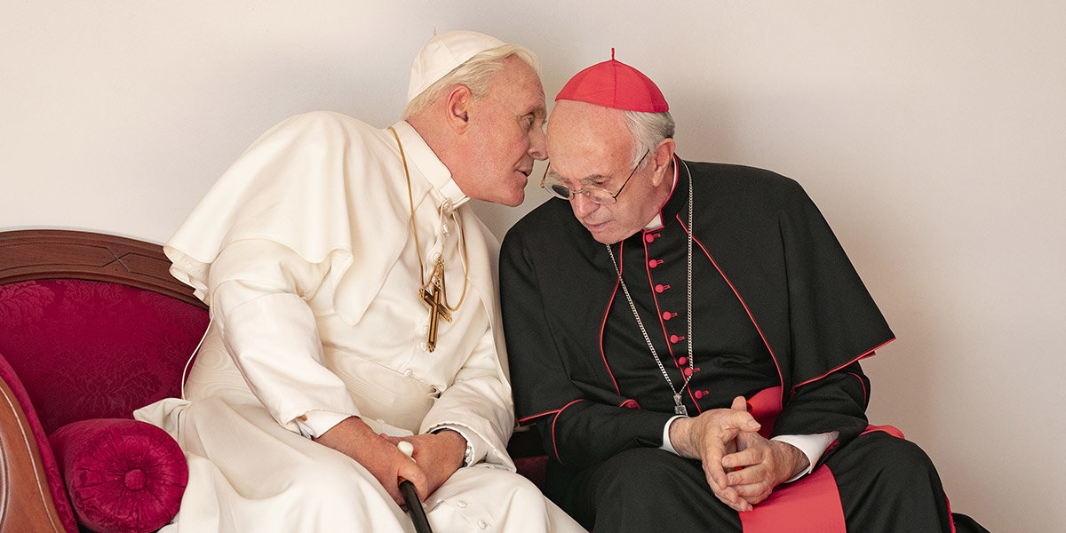 "Anthony Hopkins und Jonathan Pryce in ""The Two Popes"""